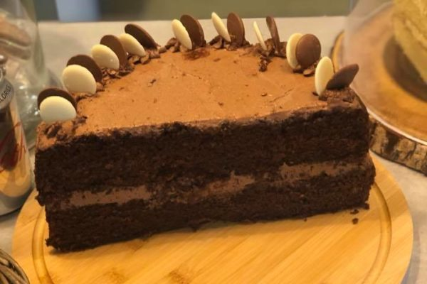 Chocolate Cake with Chocolate buttons on top