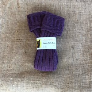 Welly Socks Patterned Purple Size 8-10